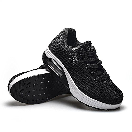 Black Platform Lightweight Shoes Comfortable Running Ladies Trainers Kemosen Casual Women's Sneakers Breathable Shoes Wedges Walking n6XqSO8qx