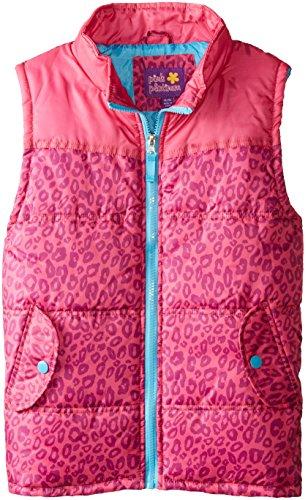 42 Pink Platinum Big Girls' Puffer Vest In Cheetah Print, Pink Glo, (Cheetah Snowboard Jacket)