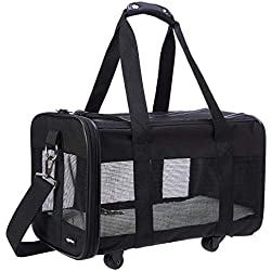 AmazonBasics Soft-Sided Pet Travel Carrier with Wheels, Medium
