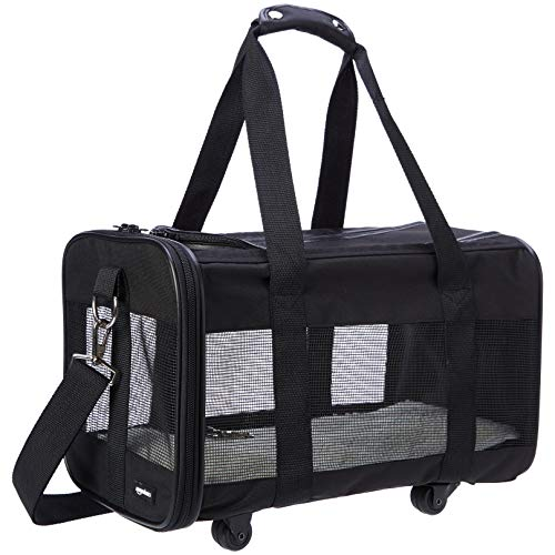 - AmazonBasics Soft-Sided Pet Travel Transport Carrier with Wheels - 17 x 9 x 10 Inches, Medium