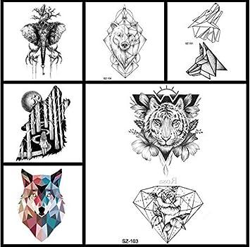 yyyDL Pequeñas pegatinas de tatuaje geométrico Mujeres Body Art ...