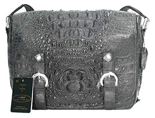 Authentic M Crocodile Skin Mens Hornback Satchel Messenger Cross Body Bag Belts ()