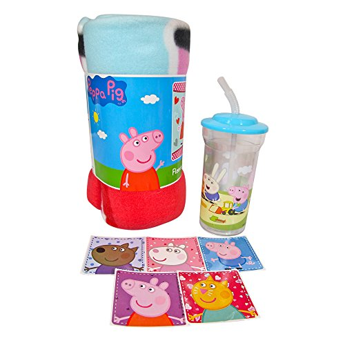 Peppa Pig Bedtime Gift Set - Blanket, Tumbler and Stickers by Little Boogers (Set Peppa's Christmas)