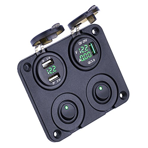 (Cllena Dual USB Charger Socket Power Outlet 4.2A + Quick Charge 3.0 with LED Voltmeter & Ammeter + 2 ON-Off Toggle Switch Multi-Function Panel for Car Boat Marine Rv Truck Camper GPS Mobiles (Green))