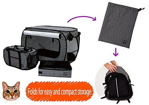 Necoichi-Set-of-Pop-Open-Cat-Cage-Carrier-and-Portable-Litter-Box-Black