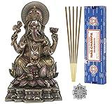 Ganesh Statue - Altar Supply Kit - 8 inch (H) Cold Cast Bronze Statue Ganpati Lord of Success ~ 100 Gram Satya Sai Baba Nag Champa Incense Sticks Pack and Lotus Sri Yantra Ornament
