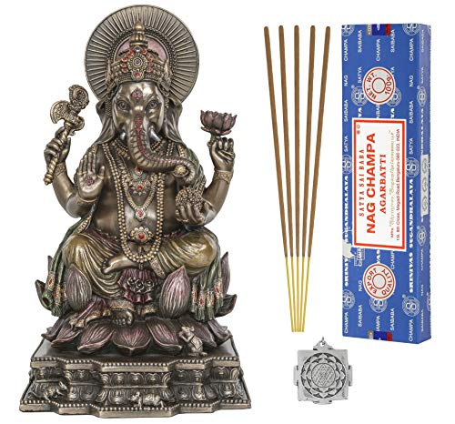 Ganesh Statue - Altar Supply Kit - 8 inch (H) Cold Cast Bronze Statue Ganpati Lord of Success ~ 100 Gram Satya Sai Baba Nag Champa Incense Sticks Pack and Lotus Sri Yantra Ornament
