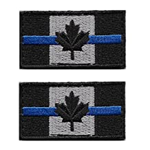 Small Thin Blue Line Canadian Flag (4cm x 2cm) Velcro Patch, Set of 2