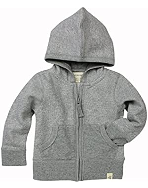 Loose Pique Hoodie, 100% Organic Cotton, Heather Grey Loose Pique, 12 Months