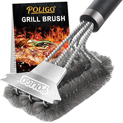 POLIGO Grill Brush and Scraper with Deluxe Handle - Safe Wire Stainless Steel BBQ Brush for Gas Infrared Charcoal Porcelain Grills - Best Gift BBQ Grill Cleaning Brush for Grill Wizard Grate Cleaner
