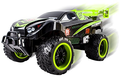 Vokodo Thunder Remote Control RC Truck Truggy Car Light up Wheels Ready to Run Includes Rechargeable Battery 1:16 Size Toy (Green) ()