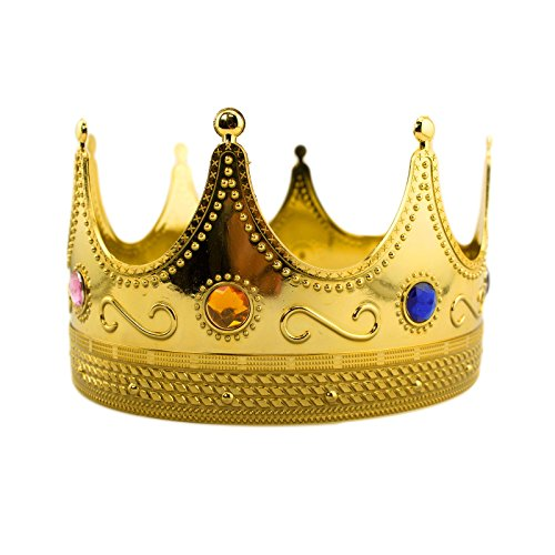 King Adult Crown - Deco4Fun Regal Gold Plastic King Crown with Jewels Queen Prince Royal Accessory