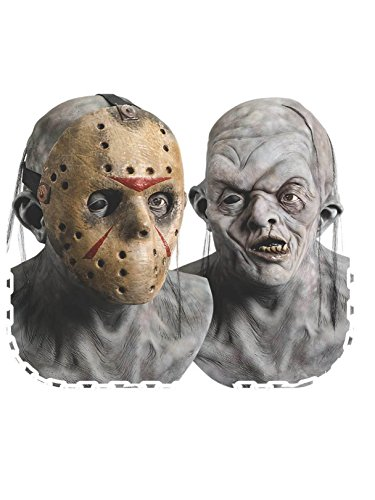 Rubie's Adult Jason Overhead Latex Deluxe Mask with Removable PVC Hockey Mask - Multicolored - One Size