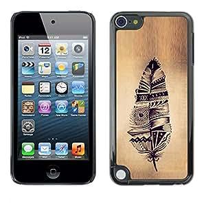 Caucho caso de Shell duro de la cubierta de accesorios de protección BY RAYDREAMMM - Apple iPod Touch 5 - Native Parchment Rustic