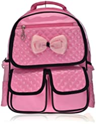 Mlife Children School Backpack Bags for Primary Girls Students Patent Leather Bow Bag Pink