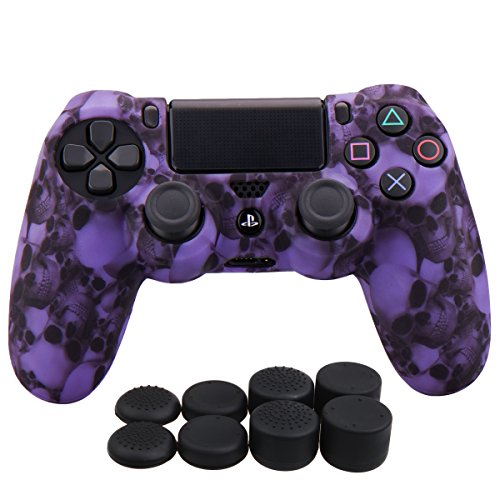 Price comparison product image YoRHa Water Transfer Printing Skull Silicone Cover Skin Case for Sony PS4 / slim / Pro Dualshock 4 controller x 1(purple) With Pro thumb grips x 8