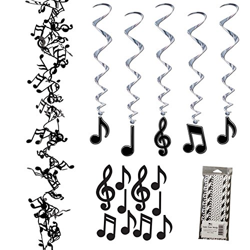 Musical Notes Party Decoration Supplies Pack - Includes Hanging Swirls, Mini Cutouts, Wire Garland, and Straws -