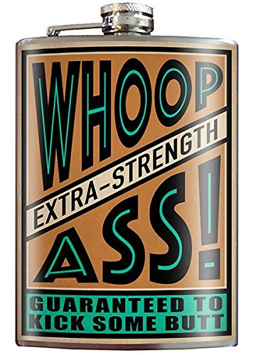 Whoop Ass Kick Some Butt Hilarious Flask - 8oz Stainless Steel Flask - come in a GIFT BOX - by Trixie & Milo ()