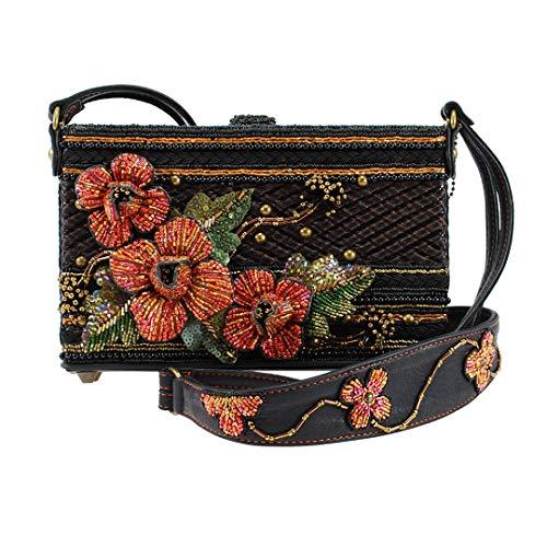 Floral Handbag Sequined - Mary Frances Hot Couture Hand Beaded Jeweled Sequined 3D Floral Handbag Shoulder Bag