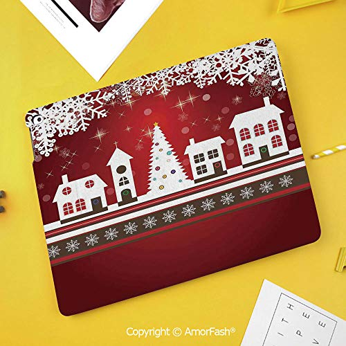 PU Flip Case for Samsung Galaxy Smart TAB S4 10.5 2018 T830 T835 Cover,Christmas Decorations,Winter Holidays Theme Gingerbread House Tree Lights and Snowflakes Art,Red White]()