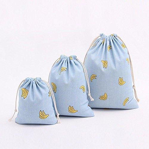 mk. park - Women Printing Drawstring Bag Beam Port Storage Bag Shopping Travel Bag Backpack (Sky blue)