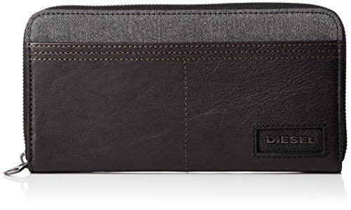 Diesel Men's D-Side 24 Zip-Wallet, Grey Denim/Black, One Size