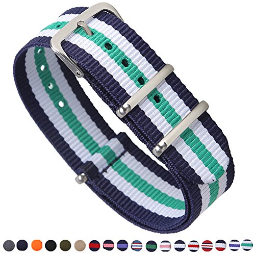 STYLELOVER Premium NATO Watch Bands Nylon Straps Width 16mm 18mm 20mm 22mm 24mm (Mounting Mens Band)