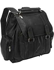 Piel Leather Double Loop Flap-Over Laptop Backpack, Black, One Size