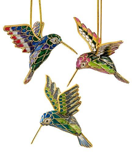 Value Arts Christmas Ornaments, 3 Piece Set Cloisonne Hummingbird Ornament