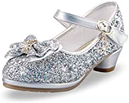 WYSBAOSHU Girls Princess Shoes Glitter and Sparkle High Heel Shoes Closed Toe for Party Festival Dance