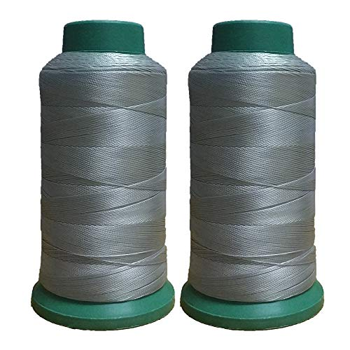 Polyester Thread Heavy Duty Bonded UV Resistant High Strength Outdoor Thread #69 T70 Size 210D/3Ply for Upholstery, Outdoor Market, Drapery, Leather, Beading, Crafts, 3000Yards Set of 2 (Gray)