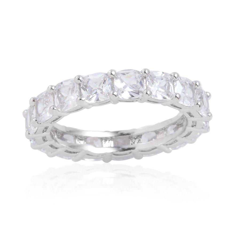 Shop LC Cubic Zirconia Silvertone Eternity Ring Size 7 TGW 0.530 Ct