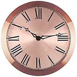 Bernhard Products Large Steel Wall Clock 14-Inch Decorative Roman Numerals, Rose Gold Metal - Silent Non Ticking Battery Operated Clocks