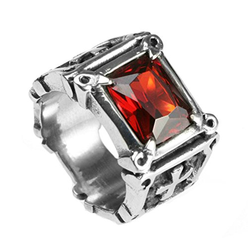 MoAndy Fashion Ring Men Stainless Steel Vintage Retro Red Cubic Zirconia Skull Cross Ring 6MM Size 12