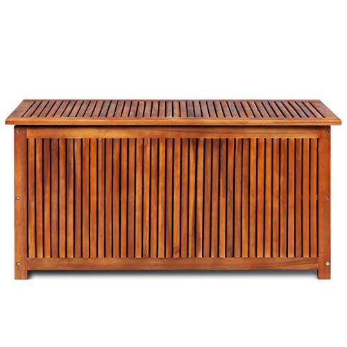 "HELLOLAND Outdoor Storage Bench Acacia Wood Garden Deck Box Water-Resistant Storage Container Patio Backyard Poolside Balcony Furniture Decor 46.1"" x 19.7"" x 22.8"" (W x D x H)"