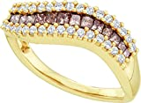 14kt Yellow Gold Womens Princess Cognac-brown Colored Diamond Contoured Band Ring 5/8 Cttw
