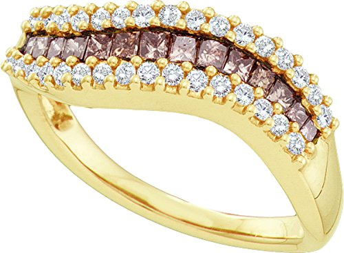 14kt Yellow Gold Womens Princess Cognac-brown Colored Diamond Contoured Band Ring 5/8 Cttw by JawaFashion