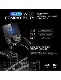 Adaptador de radio inalámbrico para automóvil Transmisor de FM Bluetooth para automóvil Kit de automóvil W Pantalla de 1,44 pulgadas Compatible con tarjeta TF   SD y cargador de automóvil USB para todos los teléfonos inteligentes Reproductores de audio