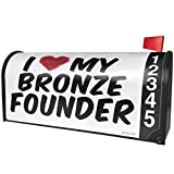 NEONBLOND I heart love my Bronze Founder Magnetic Mailbox Cover Custom Numbers