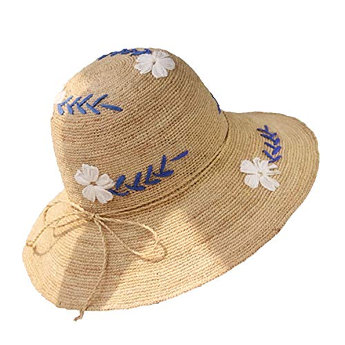 Heart .Attack Love Egg New Lafite Straw Hat Ladies Summer Travel Sunscreen Beach Hat Stylish Bow Flower Straw Hat,Six Flowers (Raffia),Adult Models (56-58cm)