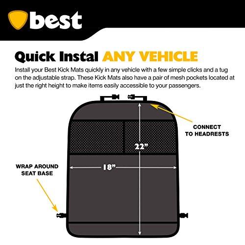 100/% Waterproof Best Kick Mats with Backseat Organizer Pocket Storage 2 Pack