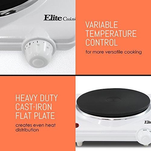 Elite Cuisine ESB-301F 1000 Watt Single Buffet Burner Electric Hot Plate, White by Maxi-Matic (Image #6)