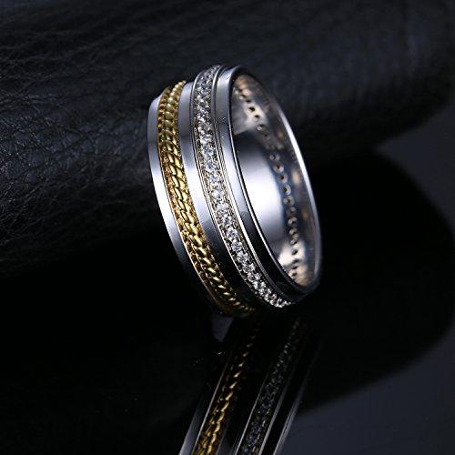 JewelryPalace Jolie Bague Canal Femme Anneau en 18K Plaqué Or et Zircon Cubique de Synthèse CZ