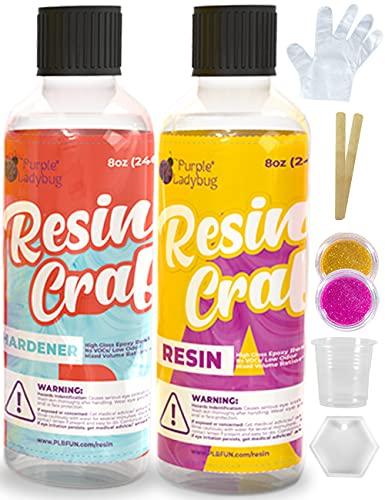 Resina epoxy 2 comp. 240ml c/u kit+molde, glitter, guantes