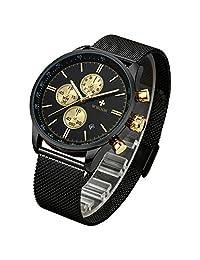 70c00b5b978c WWOOR Reloj de Pulsera para Hombre Esfera De Cuarzo Negro Acero Inoxidable  Correa Relojes deportivos para