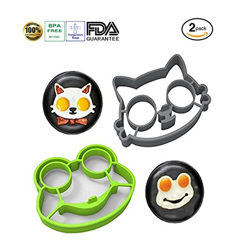 Tenta Kitchen Utensils Premium Silicone Frog Mold Cat Mold, Perfect Egg Molds for Sunny Side up Eggs * Made Using Only Eco-friendly Food Grade Nonstick Silicone * Kitchen gadgets set of 2 (Cat/Frog)