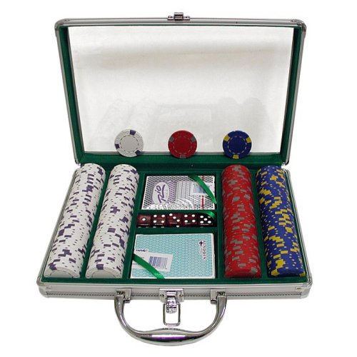 Trademark 200 13 Gm Pro Clay Casino Chips with Clear Cover Aluminum Case (Silver) ()