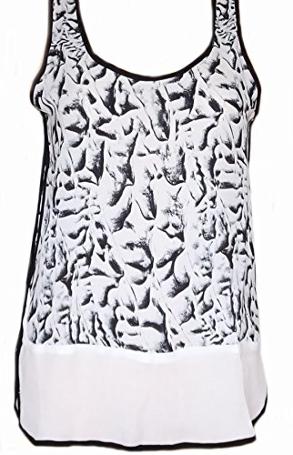 Philosophy Sleeveless Blouse White Black Woven Tank Relaxed Fit (12)