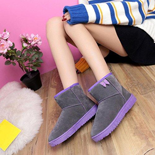 Botas Mujer,Ouneed ® Moda botas de tobillo para la piel de las mujeres alineadas botas de nieve caliente Gris