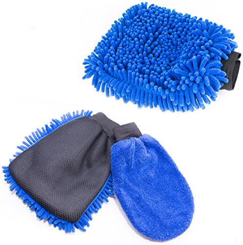 Car Wash Mitt & Duster (2 Blue Mitts) - Classic Car Accessories Gift Set - Dual-Sided Microfiber Washing Glove with Non-Scratch Scrubber Sponge on the Other Side - Bonus Dust & Dry Mitt Included